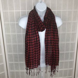 Accessories - Red Black  Houndstooth Women's Scarf
